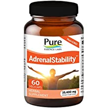 Pure Essence Labs - Natural Adrenal Health Support Supplement for Fatigue,Stress, Anxiety Relief, Improved Mood & Focus, Cortisol Management - 60 Capsules