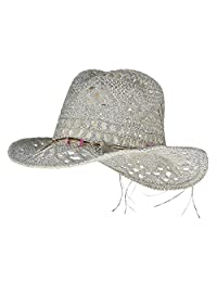 Gemvie Women Hollow Out Western Style Straw Cowboy Cowgirl Hat Fedora Cap