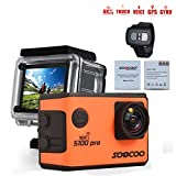 SOOCOO S100Pro 4K Action Sports Camera Touchscreen Voice Control with Wi-Fi and 2.4G Remote Control Support External GPS Logger Extra 1 Battery