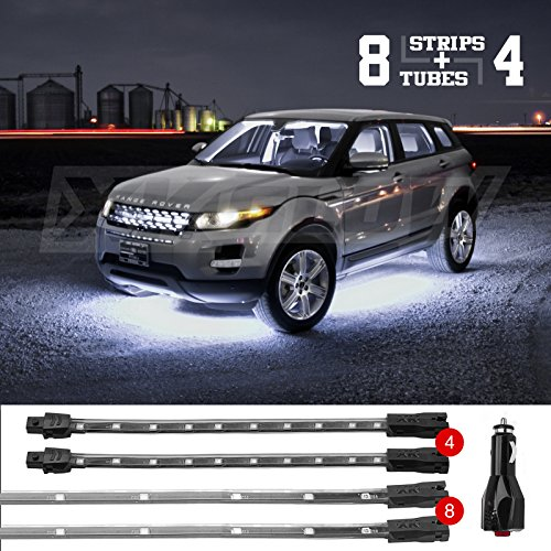 (WHITE 8pc Tubes 4pc Flex Strips Underbody + Interior Neon Accent Light Kit Car Truck Waterproof Plug & Play All Accessories Included)