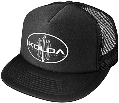 (Koloa Surf Classic Surfboards High Profile Poly-Foam Trucker Hat-BlackBlack/w)