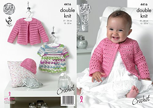 King Cole Baby Double Knit Crochet Pattern Lace Effect Dress Cardigan & Hat Cherished DK (4416)