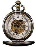 KS Men's Bronze Skeleton Hand-Winding Mechanical Analog Pocket Watch + Chain KSP046