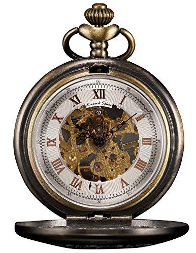 KS Men's Bronze Skeleton Hand-Winding Mechanical Analog Pocket Watch + Chain KSP046