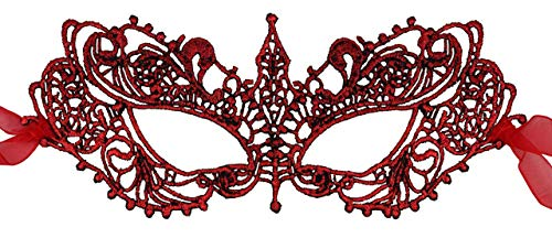 Luxury Mask Womens Lace Masquerade Mask Red]()