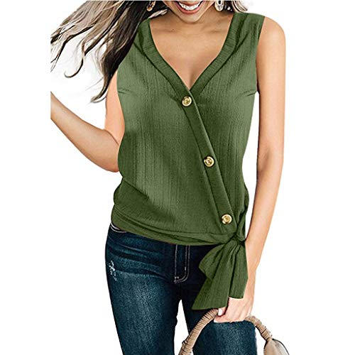 Cenglings Women's Sexy V Neck Sleeveless Tank Tops Tie Knot Front Button Chiffon Shirt Irregular Blouse Loose Beach Vest Tops Army Green