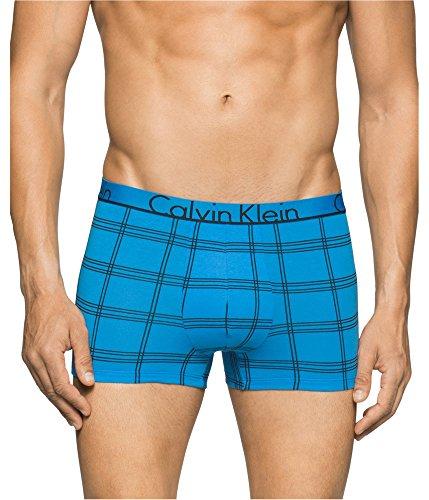 Calvin Klein Ck Grid - Calvin Klein Men's Underwear Id Cotton Trunks, Binary Grid Songbird, Small