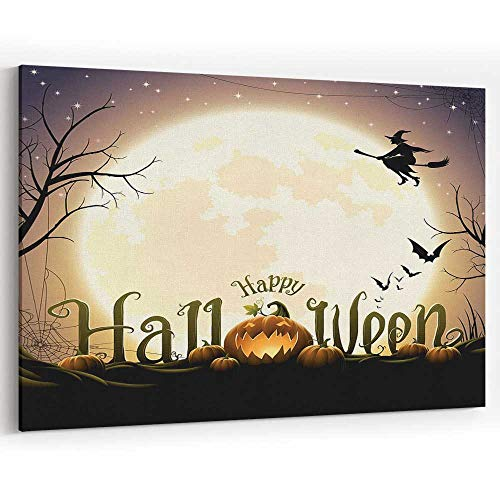 Happy Halloween Text with Pumpkins Canvas Art Wall Dector Painting Wall Art Picture Print on Canvas -