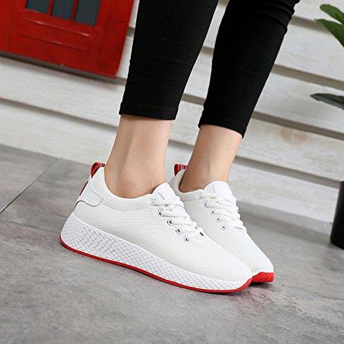 Tamaño NGRDX Aire Negro Comodidad White Zapatos amp;G 35 Deportes De Blanco Zapatos Zapatos Yardas 40 Mujer Señoras Color Malla Sólido Rosa FwrFqXa