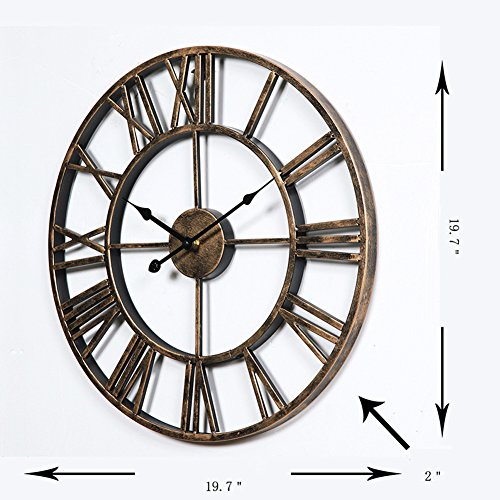 Aero Snail Vintage Retro 20-inch Dia Large Iron Metal Indoor Wall Clock with Roman Numerals