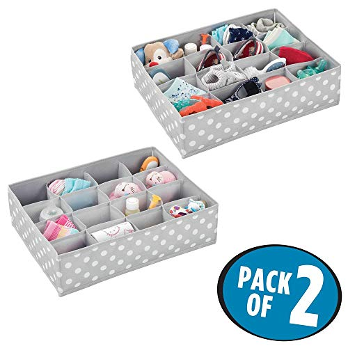 (mDesign Soft Fabric Dresser Drawer and Closet Storage Organizer for Child/Kids Room and Nursery - Large 16 Section Organizer - Polka Dot Print, 2 Pack - Light Gray/White)