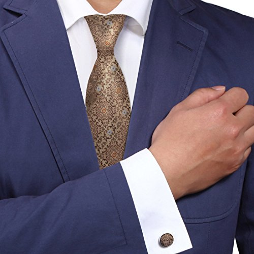 Dark Khaki Pattern Men Neck Ties Blue Handmade Discount Silk Tie Cufflinks Set A1098 One Size Dark khaki - Pattern Necktie Cufflinks