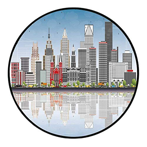 - Detroit Decor Comfortable Round Floor Mats,Detroit Skyline with Skyscrapers Modern Buildings Clear Sky Water Reflection Decorative Round Rug for Living Room Bedroom,39