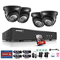 ANNKE 8CH 720P Security Camera System,5 IN 1 1080P Lite 4+1 Channels DVR Recorder w/ 4x 720P HD CCTV Camera, Support One 960P IP camera, Email Alert with Images, Mobile App: ANNKE View, One 1TB HDD