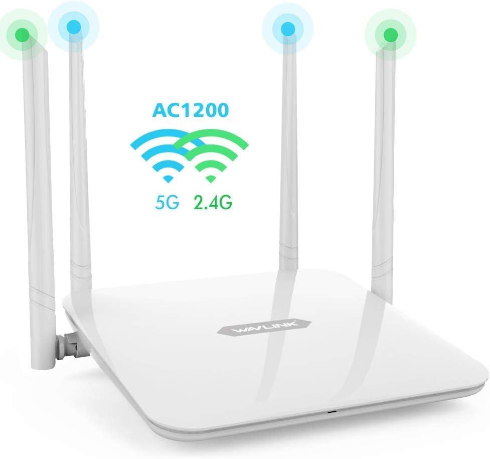 WAVLINK 1200Mbps High Power Long Range Wireless Wi-Fi Gigabit Router AC1200 Dual Band 5Ghz+2.4Ghz Smart WiFi Router High Speed WiFi Box with High Power Amplifiers PA+LNA, 2 x 2 MIMO 5dBi Antennas