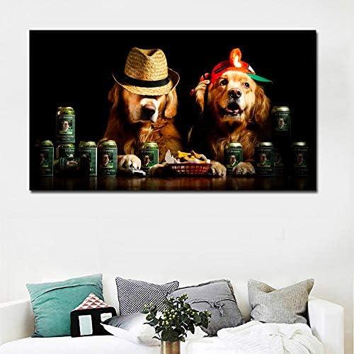 ganlanshu HD niedlichen Hund mit Tierhut Leinwand Kunst Bild Wandplakat Moderne Familie Schlafzimmer Dekoration rahmenlose Malerei 30cmX52cm