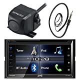 """JVC KWV320BT 6.2"""" Touch Screen Car CD DVD USB Bluetooth Stereo Receiver Bundle Combo With Kenwood Rearview Wide Angle View Backup Camera, Enrock 22"""" AM/FM Radio Antenna"""