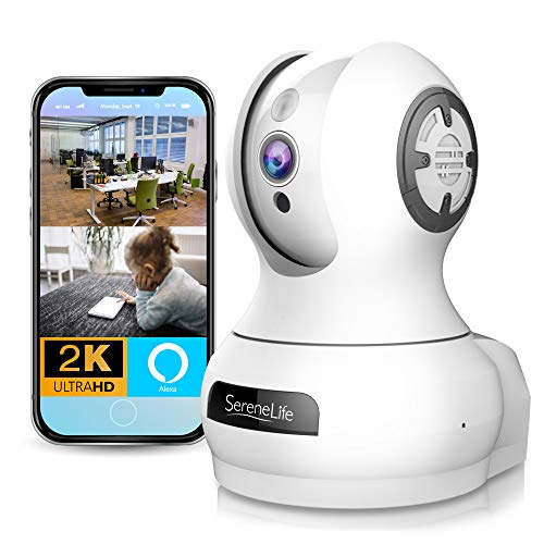 Alexa Compatible Indoor IP Camera - Auto PTZ Smart Tracking - Ultra HD 2k 1536p Smart Security Home Monitoring w/Motion Detect, Night Vision Video, Wireless Pet Baby Monitor - SereneLife IPCAMHD85