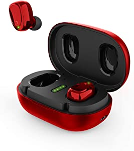 BNCHI Wireless Earbuds, Bluetooth 5 Headphones in Ear with Metal Charging Case, Super Stereo,Noise Cancellation Mic, Touch Control, 42 Hours Playback for iPhone and Android(Qualcomm 3020 Chip)(Red)