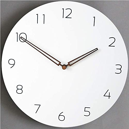 Rema House Simple Wall Clock Silent Non-Ticking Quartz Movement 10 Round Wooden Clock White