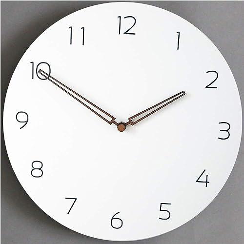 Rema House Simple Wall Clock Silent Non-Ticking Quartz Movement 11.4 Round Wooden Clock White