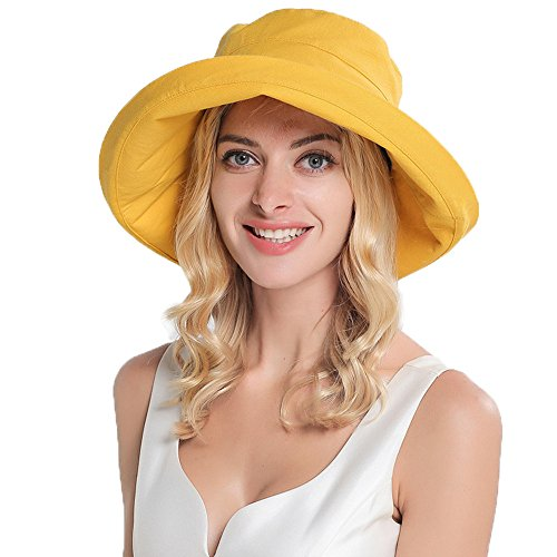 Yellow Bucket Hat - Women's UPF50+ Linen/Cotton Summer Sun Hat with Wide Fold-up Brim Bucket Hat (Yellow A)