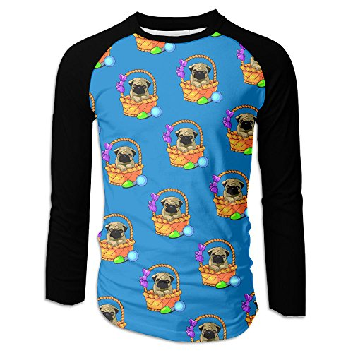 X-Tree Men's Raglan Baseball T Shirt Pug Flower Basket Long Sleeve Tee