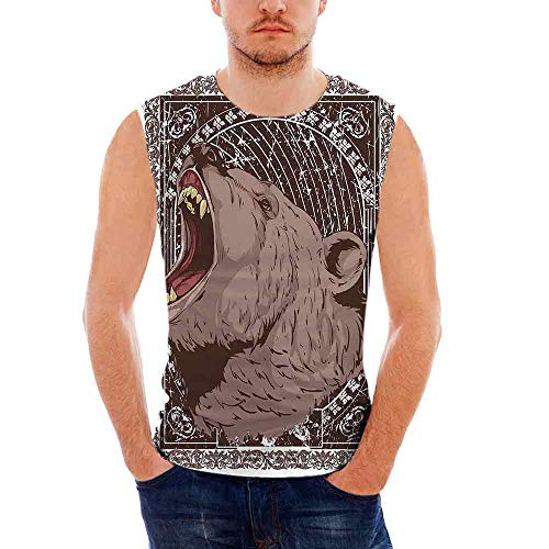iPrint Mens Workwear Animal Print Sleeveless Midweight T- Shirt,Illustration of The GRO