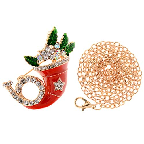 Christmas Xmas Tree Bell Elk Snowmen Crystal Brooch Pin Fashion Women Jewelry   StyleID - #43_Gold Witch Hat