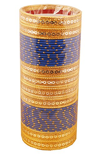 Touchstone NEW Colorful Bangle Collection Indian Bollywood Sequins Touch Blue Textured Color Wrist Beautifier Designer Jewelry Bangle Bracelets. Set of 48 In Antique Gold Tone For Women