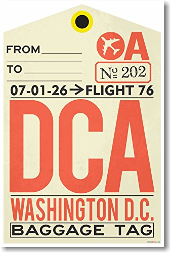 Dca Collections - DCA - Washington DC - Airport Tag - NEW Travel Poster