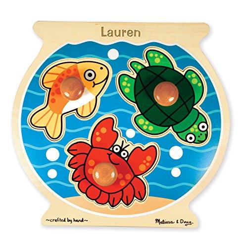 Girls Personalized Bowl (Melissa & Doug Personalized Fish Bowl Jumbo Knob Wooden Puzzle)