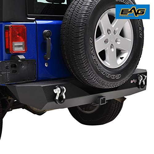 E-Autogrilles 51-0310 Black EAG 2007-2018 Jeep Wrangler JK Rock Crawler Rear Bumper with Hitch Receiver D-ring Shackle