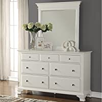 Roundhill Furniture Laveno 012 White Wood 7-Drawer Dresser and Mirror