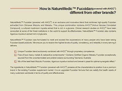 NatureMedic Fucoidan AHCC Brown Seaweed Immunity Supplement with Organic Mekabu Mozuku Agaricus 160 Vegetable Capsules Made in Japan