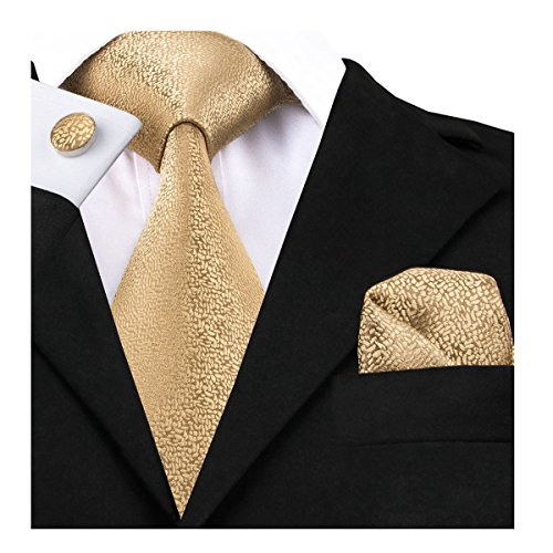 Yellow Gold Stock - Dubulle Mens Ties Set Silk Ties Handkerchief Cufflinks Set Solid Color Necktie with Pocket Square Gold Yellow Plain Color Necktie