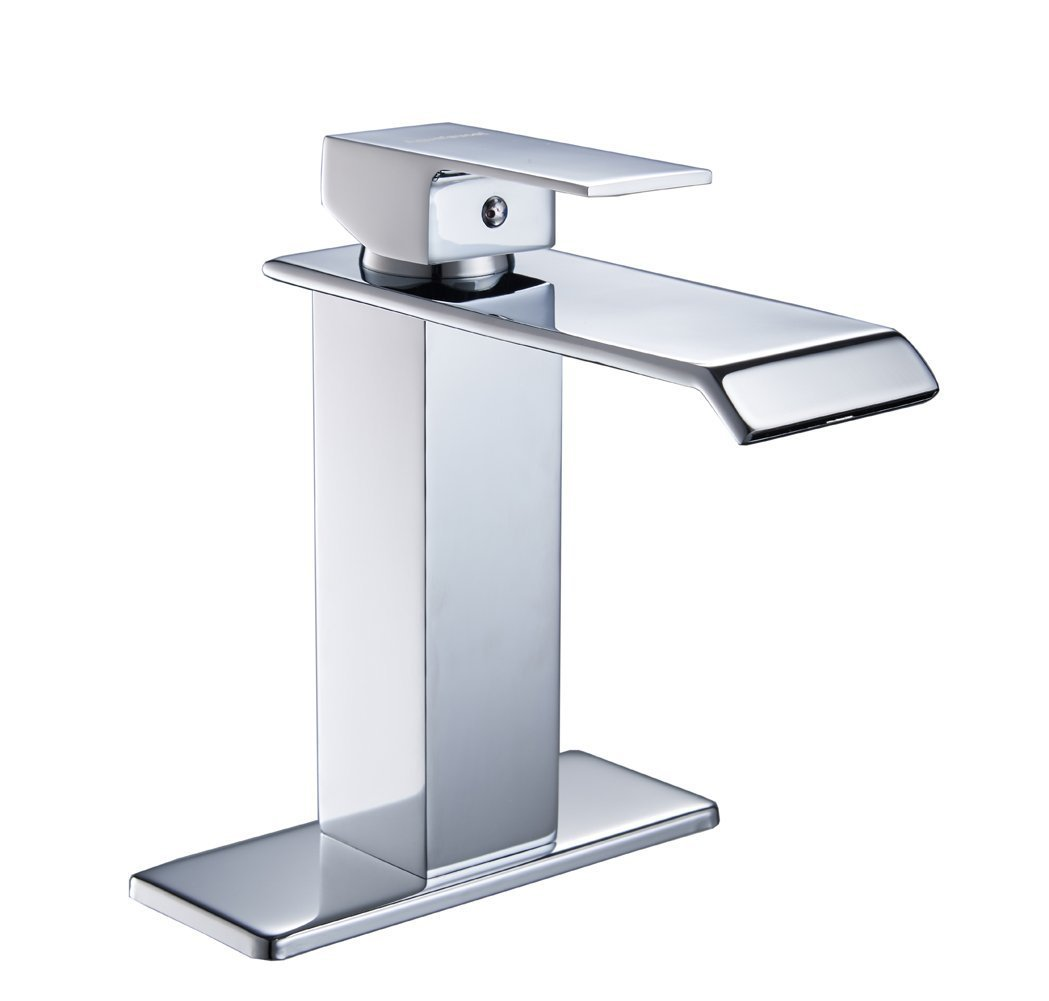 Homevacious Bathroom Faucet Chrome Bath Tub Waterfall Modern Lavatory Sink Faucets Single Handle Lever One Hole Extra Large Rectangular Spout Basin Deck Mount Mixer Tap Supply Hose