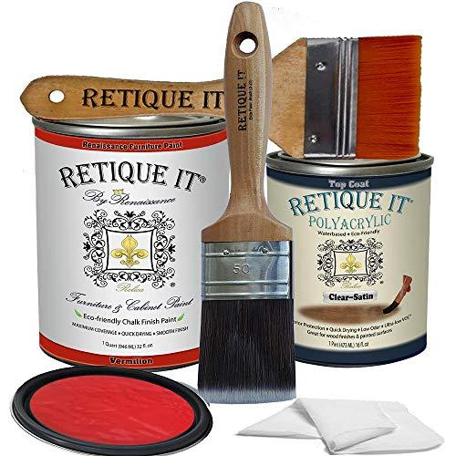 Retique It Chalk Furniture Paint by Renaissance DIY, Poly Kit, 57 Vermilion, 32 Ounces