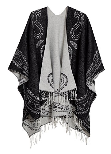 (Urban CoCo Women's Printed Tassel Open front Poncho Cape Cardigan Wrap Shawl (Series 6-black))