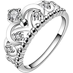 Women's 925 Sterling Silver Gorgeous CZ Princess Crown Tiara Band Wedding Cz Eternity Ring Valentine's Day gift