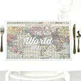 Custom World Awaits - Party Table Decorations - Personalized Travel Themed Party Placemats - Set of 12