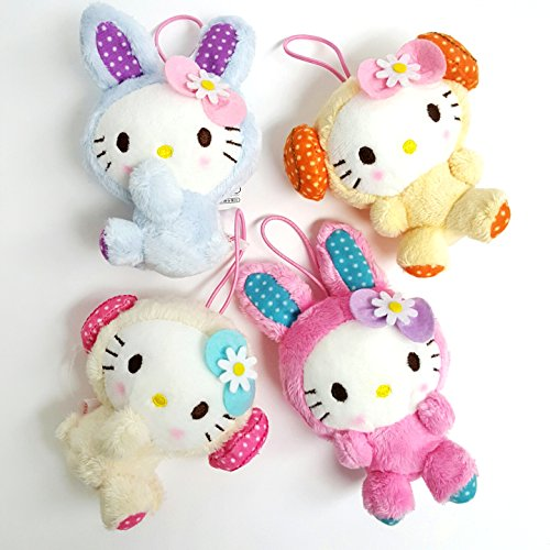 Tokyo Dolls Costume (Sanrio Hello Kitty Sheep and Rabbit Costume Plushies Hanging Dolls - Assorted Colors 4pc Set)
