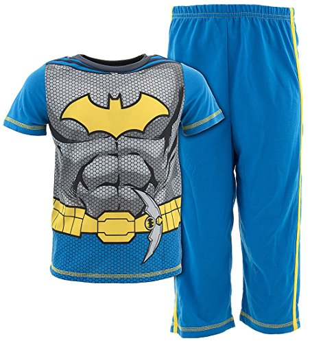 (DC Comics Boys' Toddler 2pc Set with Short Sleeve Shirt, and Pajama Pant, Blue, 4T)