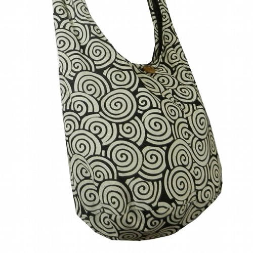 BTP! Hippie Hobo Cotton Sling Crossbody Bag Messenger Purse Swirl Printed in White on Black SW4 by BenThai Products