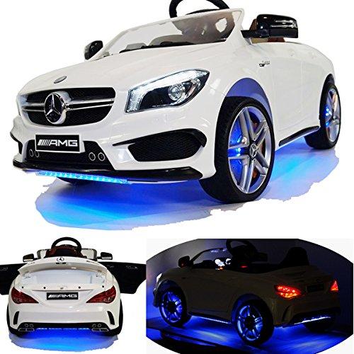 Mercedes-Benz CLA 45 AMG viele LED Effekte Soft Start Kinderauto Kinderfahrzeug Kinder Elektroauto -weiss-