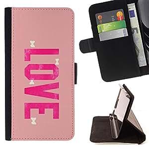 BullDog Case - FOR/HTC One M9 / - / love bowtie pink peach valentines /- Monedero de cuero de la PU Llevar cubierta de la caja con el ID Credit Card Slots Flip funda de cuer