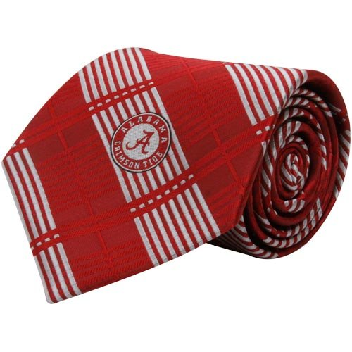 NCAA Alabama Crimson Tide Crimson Poly Plaid Woven Tie (Alabama Tide Crimson Tie)