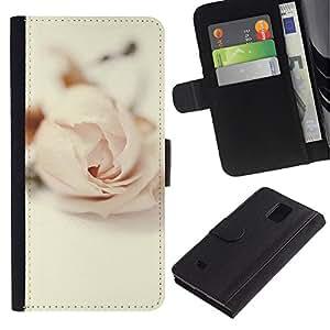 Planetar® Modelo colorido cuero carpeta tirón caso cubierta piel Holster Funda protección Para Samsung Galaxy Note 4 IV / SM-N910 ( Rose Vignette Pink Love Flower Petal )