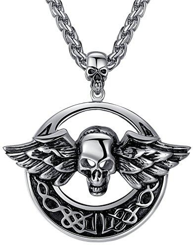 Aoiy Men's Stainless Steel Gothic Larger Heavy Wing Skull Biker Pendant Necklace, 24