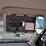 [Universal] GPCT Car SUV Space Sun Visor Storage Organizer Pouch Bag Holder W/ Phone Holder. 2 Pockets, Large Zippered Compartment- Documents/Bills/Tickets/Coupons/Sunglasses/Pens - Minimalist Design